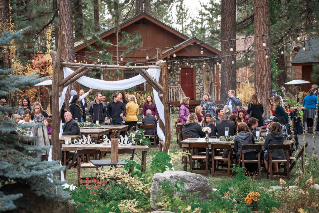 Guests enjoying the wedding reception at Black Bear Lodge