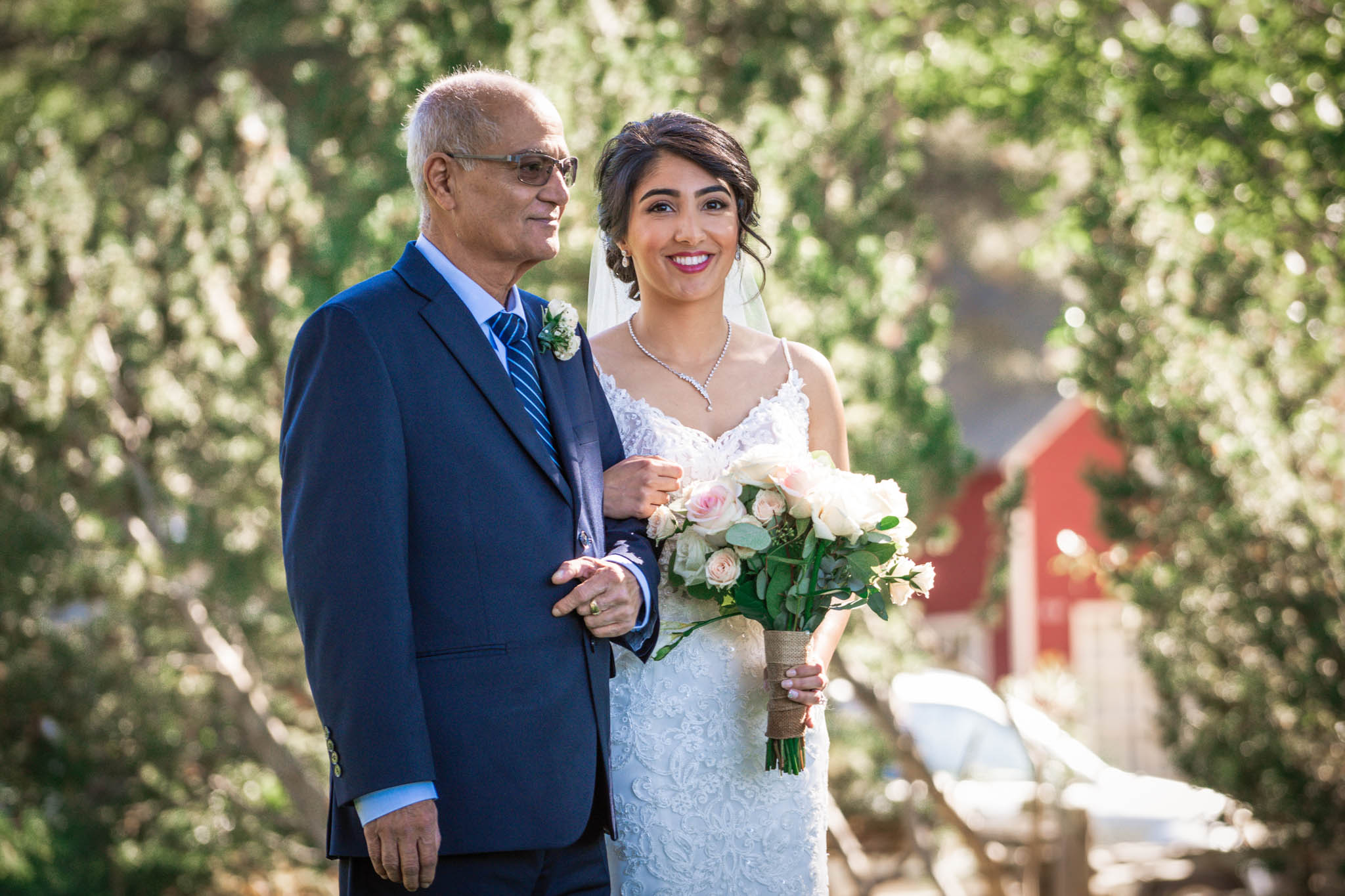 Bride's father holds his daughter's hand as they prepare to walk down the aisle
