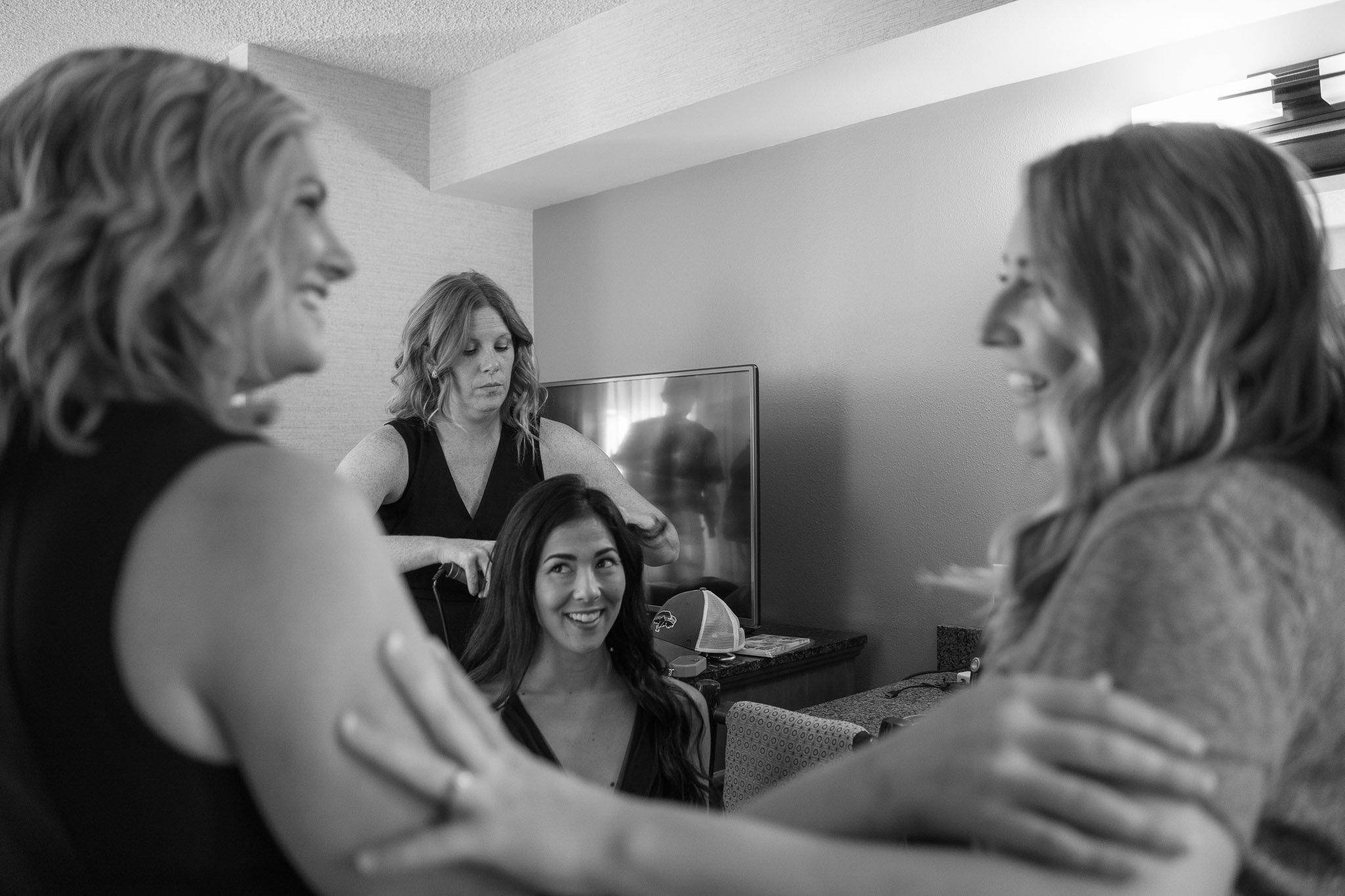 Bridesmaids getting ready at Lake Tahoe Resort Hotel
