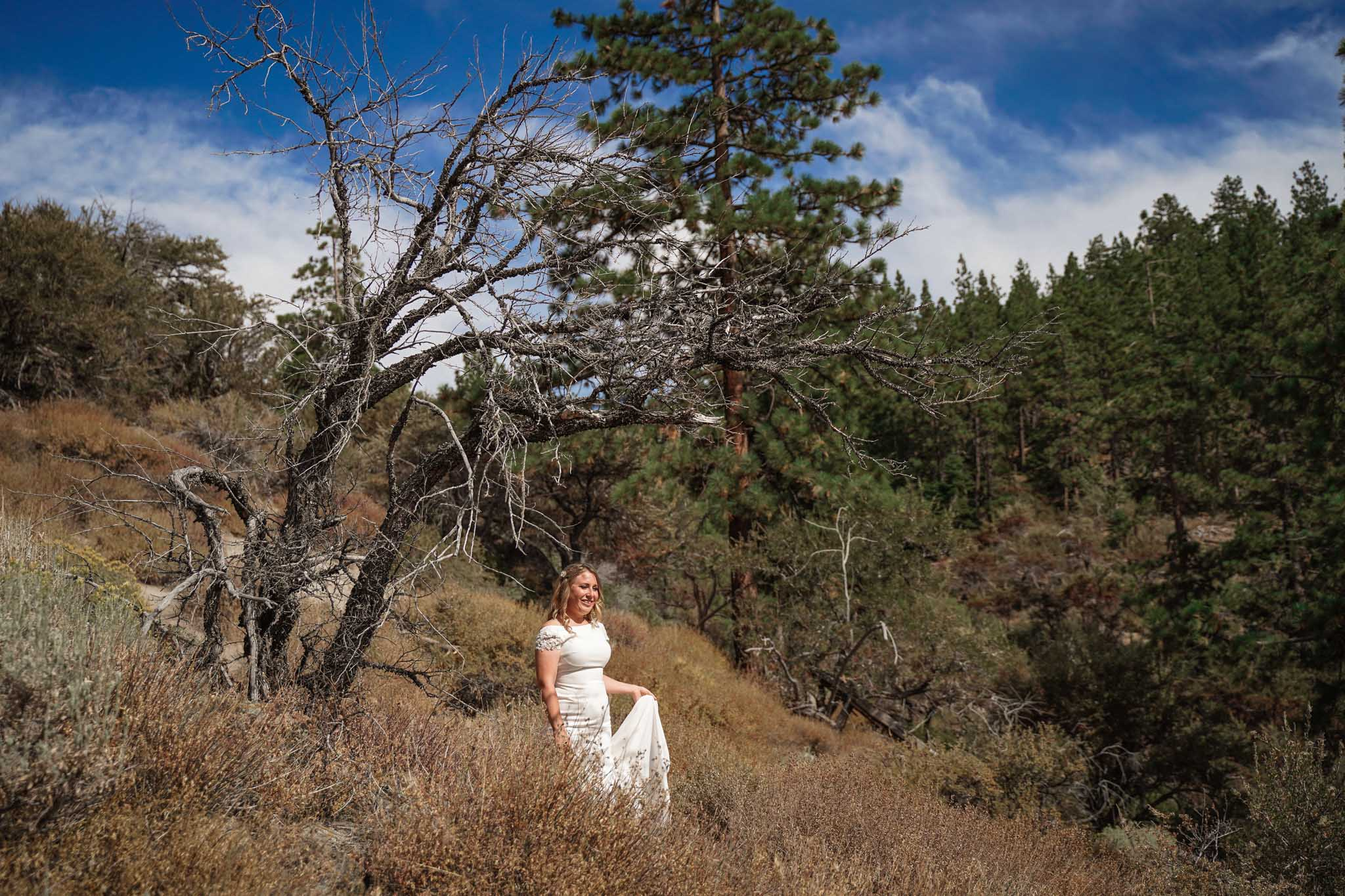 Bride overlooking the hillside at Cave Rock