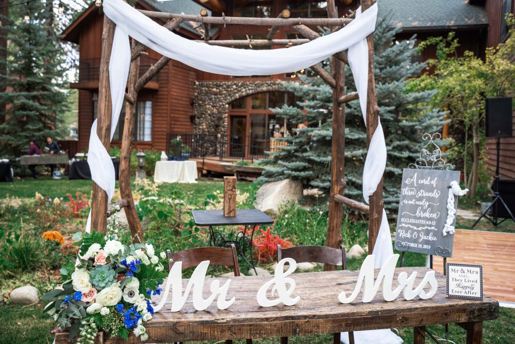 Couples table settings at a Lake Tahoe Black Bear Lodge wedding ceremony