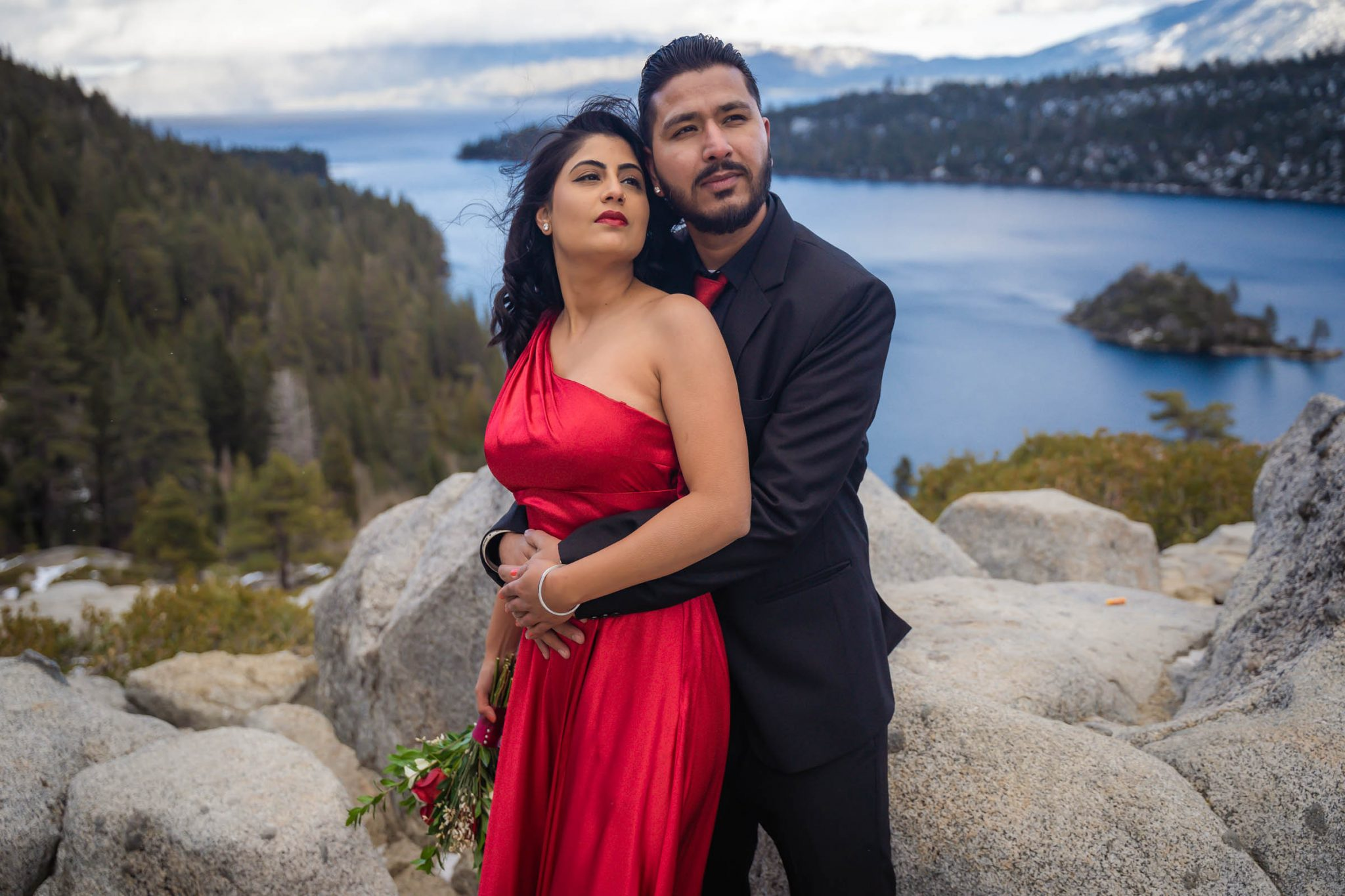 Engagement photos overlooking Emerald Bay and Fanette Island in South Lake Tahoe
