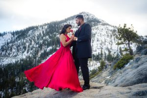 Fairytale moment during their engagement photo session at Vikingsholm, Emerald Bay