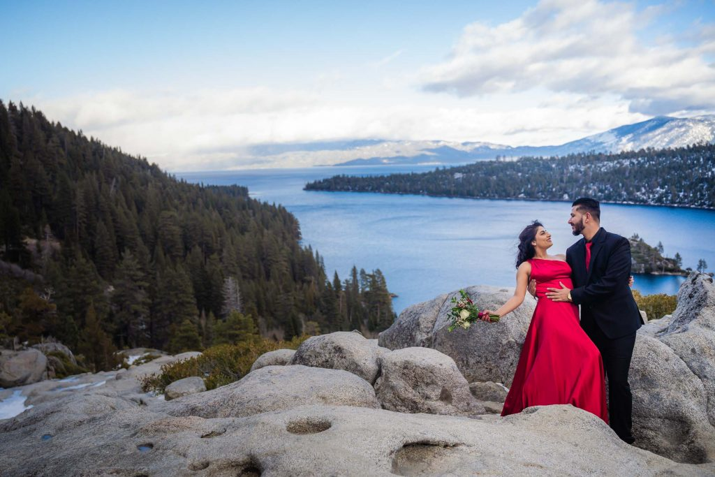 Lake Tahoe wedding photographer captures a pre-wedding session at Emerald Bay, South Lake Tahoe