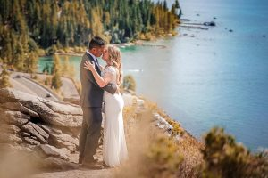 Lake Tahoe elopement photography on top of Cave Rock in Zephyr Cove, NV