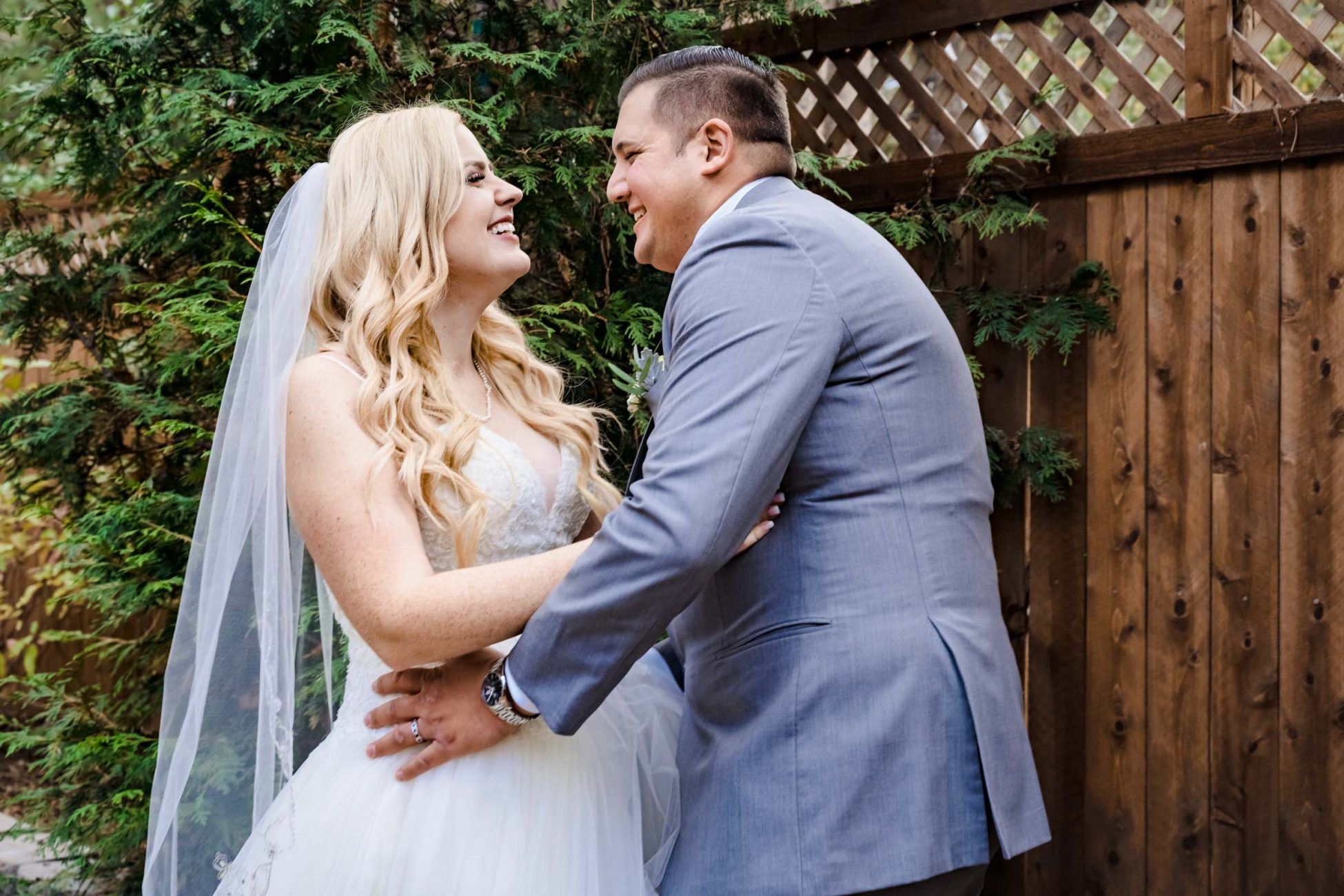 Bride and groom laugh during their South Lake Tahoe elopement