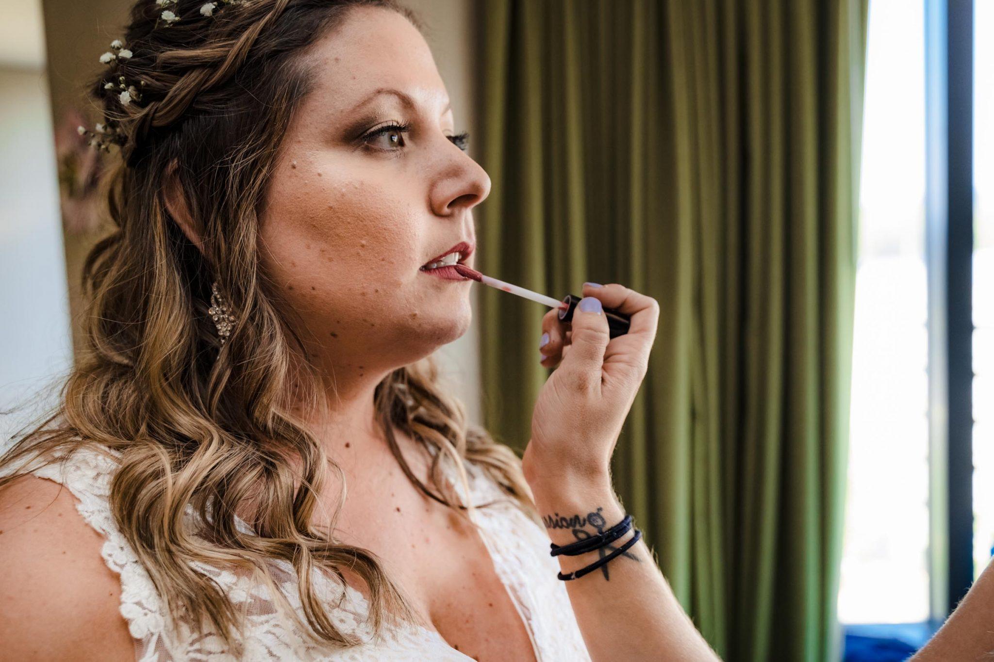 Bride getting ready at Harveys Harrahs wedding in South Lake Tahoe