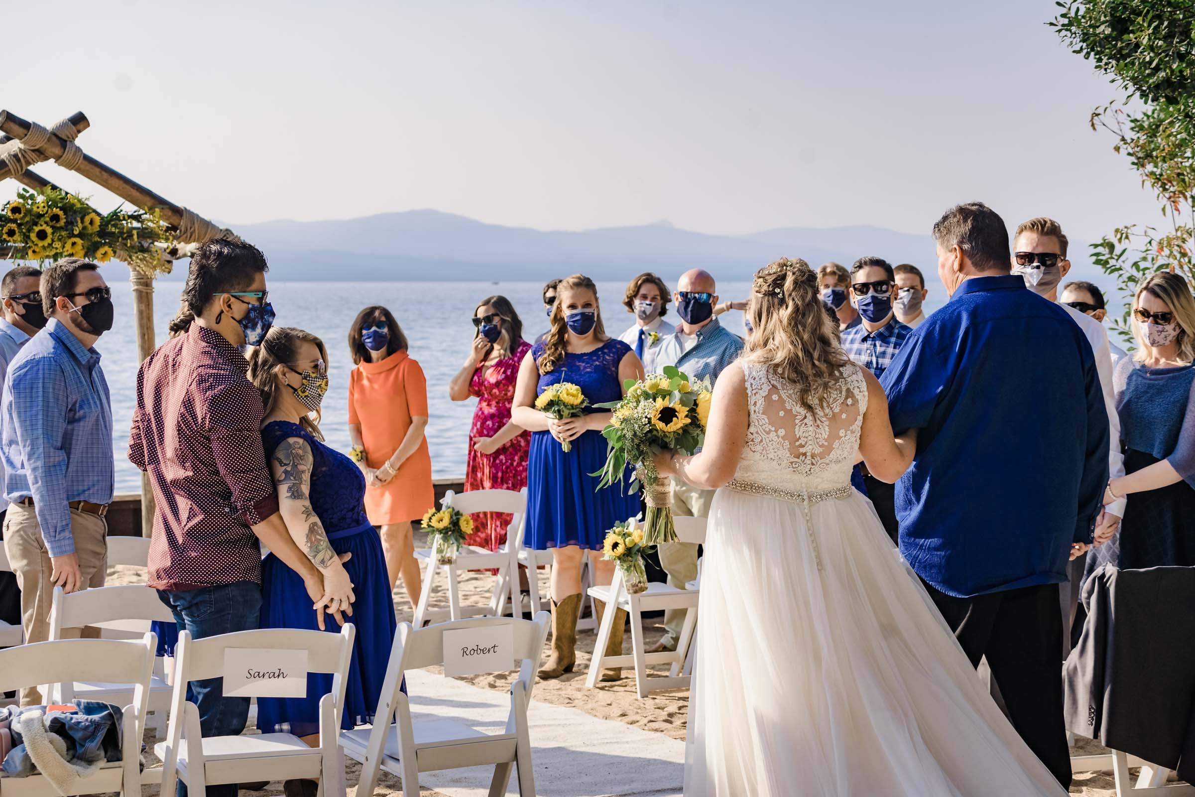Wedding ceremony at Lakeside Beach in South Lake Tahoe