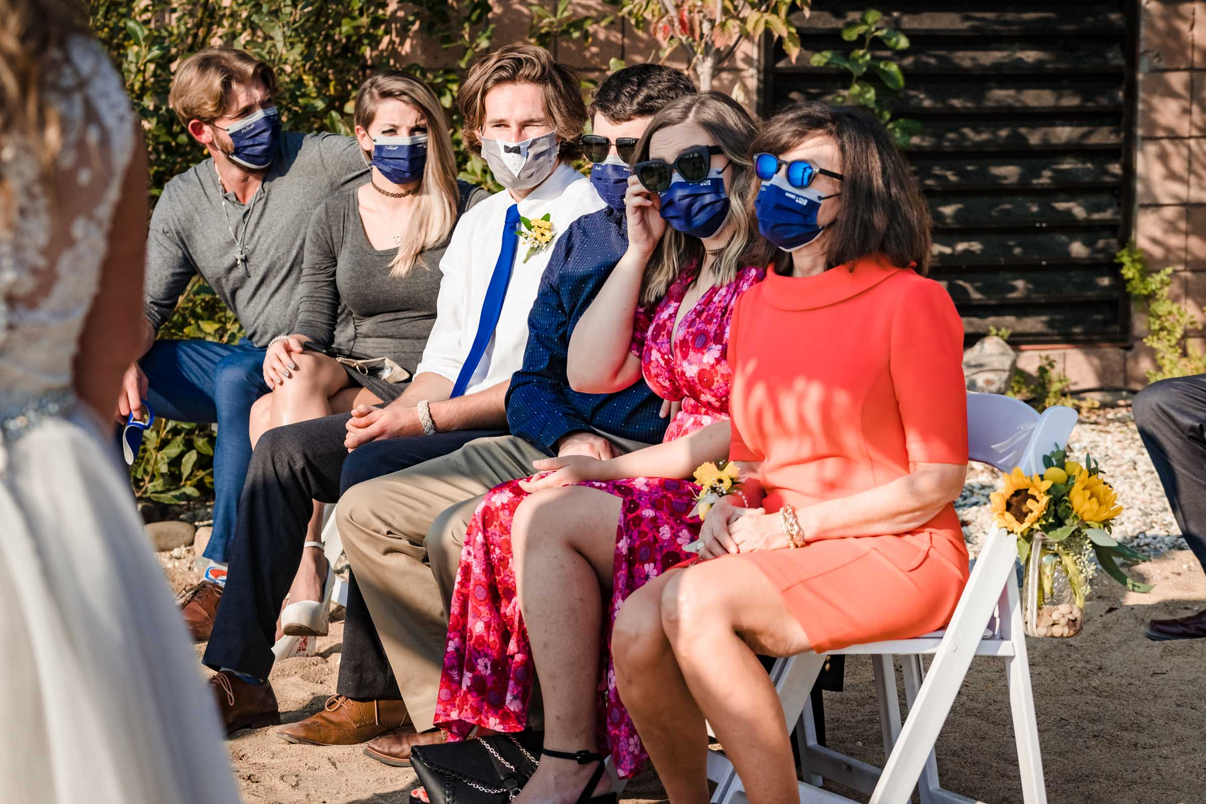 Covid Wedding ceremony while wearing masks at Lakeside Beach in South Lake Tahoe