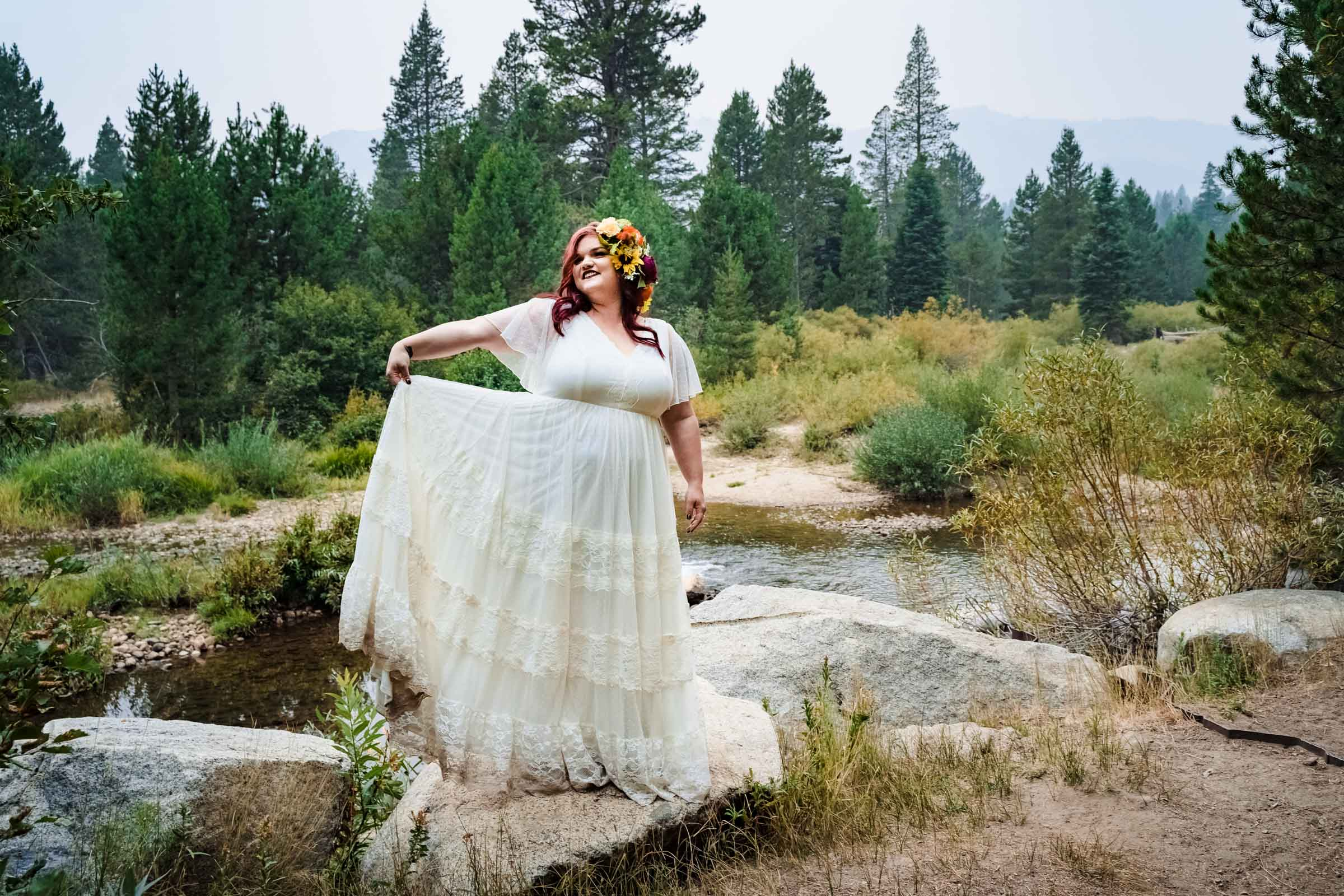Bride in her beautiful dress during elopement in South Lake Tahoe