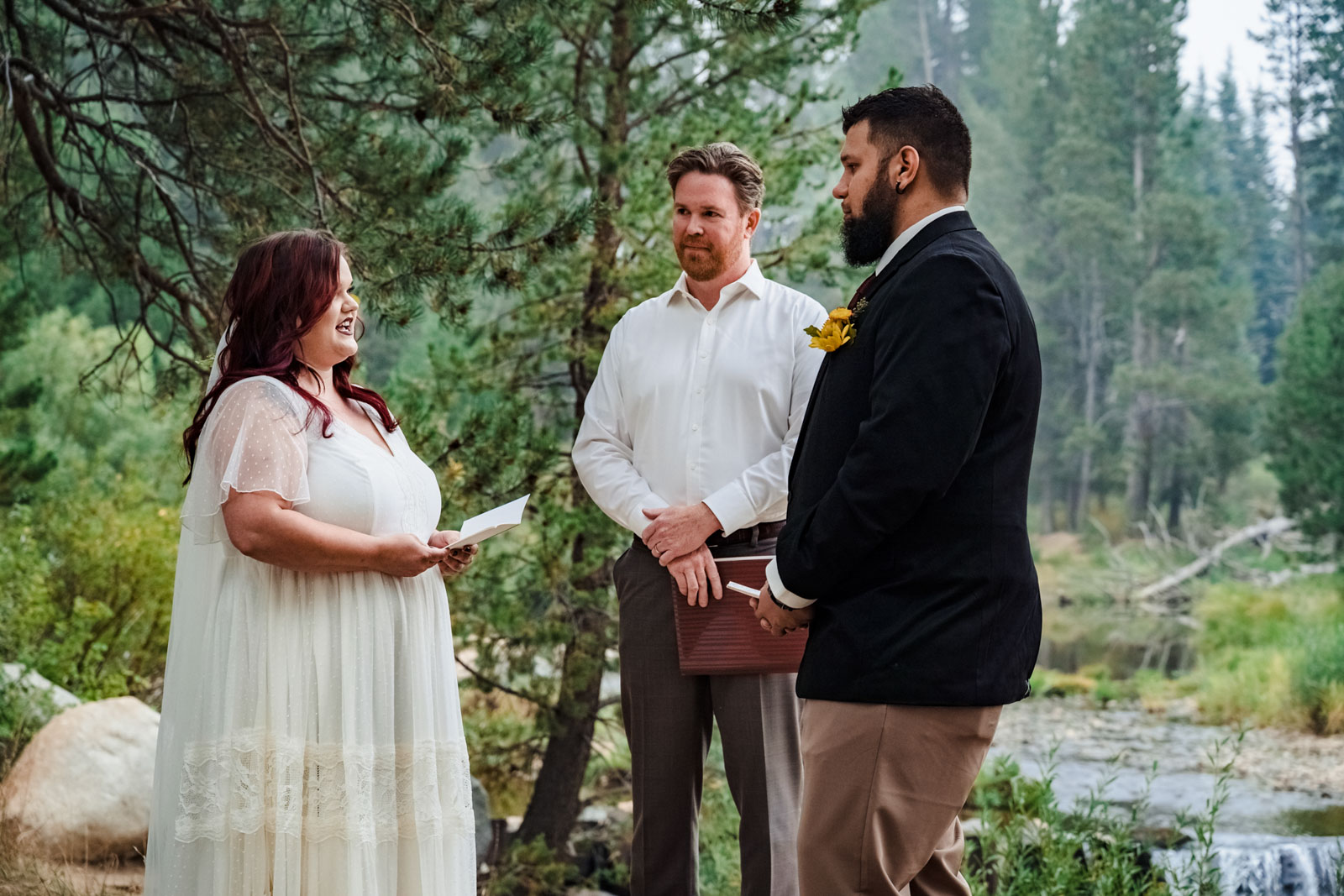 Saying wedding vows with Lake Tahoe Wedding Photographer and Elopement Photography